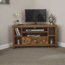 Omero Contemporary Wooden Corner TV Stand With 3 Drawers