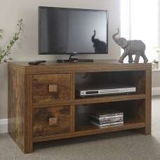 Omero Contemporary Wooden TV Stand With 2 Drawers