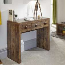 Omero Wooden Rectangular Console Table With 3 Drawers