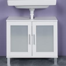 Onix Vanity Cabinet In White And Glass Fronts With 2 Doors