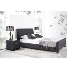 Ontario Fabric Double Bed In Slate With Wooden Legs