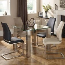 Ontario Glass Dining Table Square With 4 Dawlish Chairs