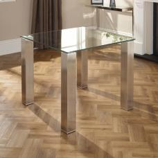 Ontario Glass Dining Table Square With Stainless Steel Base