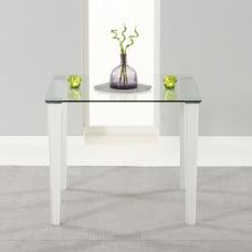 Opalia Dining Table Square In Clear Glass With White PU Legs