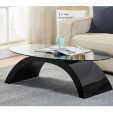 Opel Glass Coffee Table Oval In Clear With Black High Gloss Base