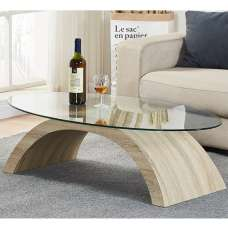 Opel Glass Coffee Table Oval In Clear With Oak Base