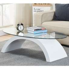 Opel Glass Coffee Table Oval In Clear With White High Gloss Base
