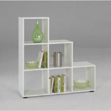 Mega1 3 Tier Display Shelves In White With 6 Compartments