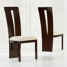 Ophelia Dining Chair In Brown Gloss And Cream Fabric In A Pair
