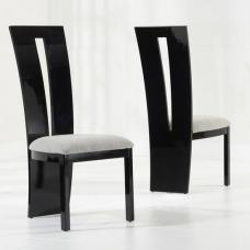 Ophelia Dining Chair In Black Gloss And Grey Fabric In A Pair
