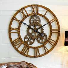 Optika Wooden Cog Clock With Roman Numerals And Detailed Gears