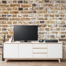 Optra Large Sideboard In White And Oak Trim With 3 Doors