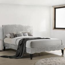 Orbit Fabric Double Bed In Ice Crushed Velvet With Wooden Legs
