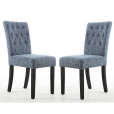 Oriel Dining Chair In Oxford Blue With Black Legs In A Pair