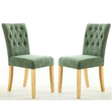 Oriel Dining Chair In Olive Green With Natural Legs In A Pair