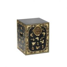 Oriental Storage Trunk In Black With Decorated Gold Leaf Edging