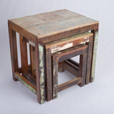 Origin Wooden Nest Of Tables In Reclaimed Timber