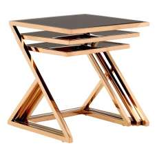 Orion Glass Nest of 3 Tables In Black With Rose Gold Frames
