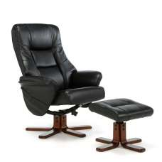 Orsina Contemporary Recliner Chair In Black Faux Leather