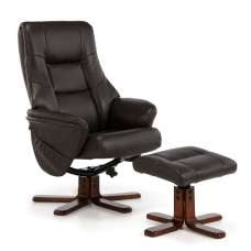 Orsina Contemporary Recliner Chair In Brown Faux Leather