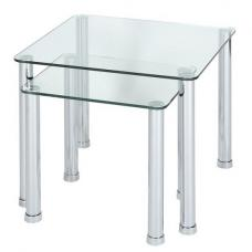 Osian Glass Nesting Tables In Clear With Chrome Legs