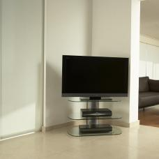 Oyster Glass TV Stand Small In Clear With Silver Column