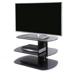 Oyster Glass TV Stand Small In Grey With Black Column