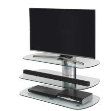 Oyster Glass TV Stand In Clear With Silver Column