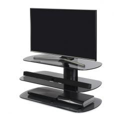 Oyster Glass TV Stand In Grey With Black Column