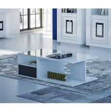 Padua Coffee Table Rectangular In Glossy White Black And Glass