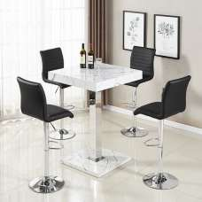Palmero Bar Table In Glossy Marble Finish 4 Ripple Black Stools