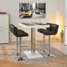 Palzo Bar Table In White High Gloss With 4 Candid Black Stools