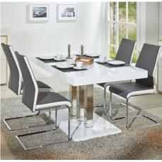 Palzo Dining Table In White Gloss With 4 Marine Grey Chairs