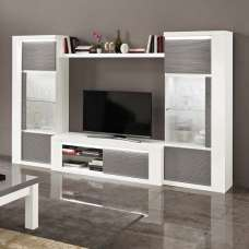 Pamela Living Room Set In White High Gloss And Grey With LED