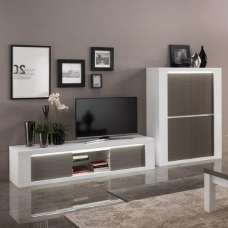 Pamela Living Room Set 1 In White High Gloss And Grey With LED