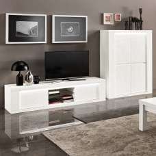 Pamela Living Room Set 1 In White High Gloss With LED Lighting