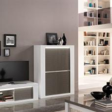 Pamela Bar Unit In White High Gloss And Grey With Lighting