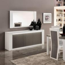 Pamela High Gloss Sideboard In White And Grey With Lighting