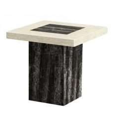 Paolo Marble Lamp Table Square In Cream And Black