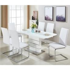 Parini Extendable Dining Set In White Gloss With 6 Ronn Chairs