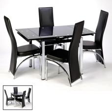 Paris Extendable Glass Dining Table In Black And 4 Romeo Chairs