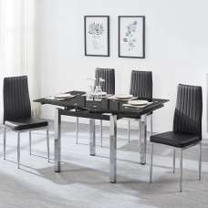Paris Extendable Glass Dining Table In Black And 4 Monza Chairs