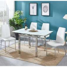 Paris Extendable Glass Dining Table In White And 4 Opal Chairs
