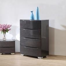 Parker Chest of Drawers In Grey High Gloss With 4 Drawers