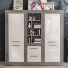 Parker Highboard In Concrete And White High Gloss With 4 Doors