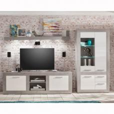 Parker Living Room Set In Concrete And White Gloss With LED