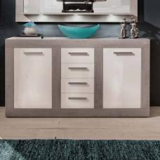 Parker Sideboard In Concrete And White High Gloss With 2 Doors