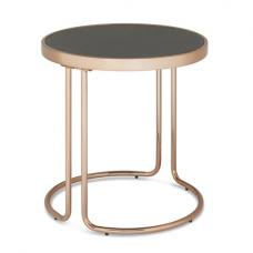 Parma Glass Lamp Table In Stone Effect With Rose Gold Base Frame