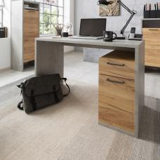 Paseo Wooden Computer Desk In Light Concrete And Golden Oak