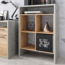 Paseo Wooden Shelving Unit In Light Concrete Golden Oak